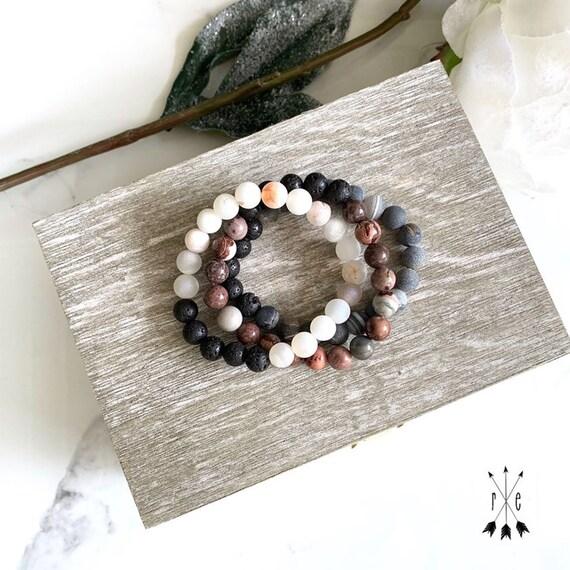Gemstone Stack Set - Lava Stone Diffuser Bracelets - Coffee Bean Jasper, Water Luster Druzy, Black Line Agate