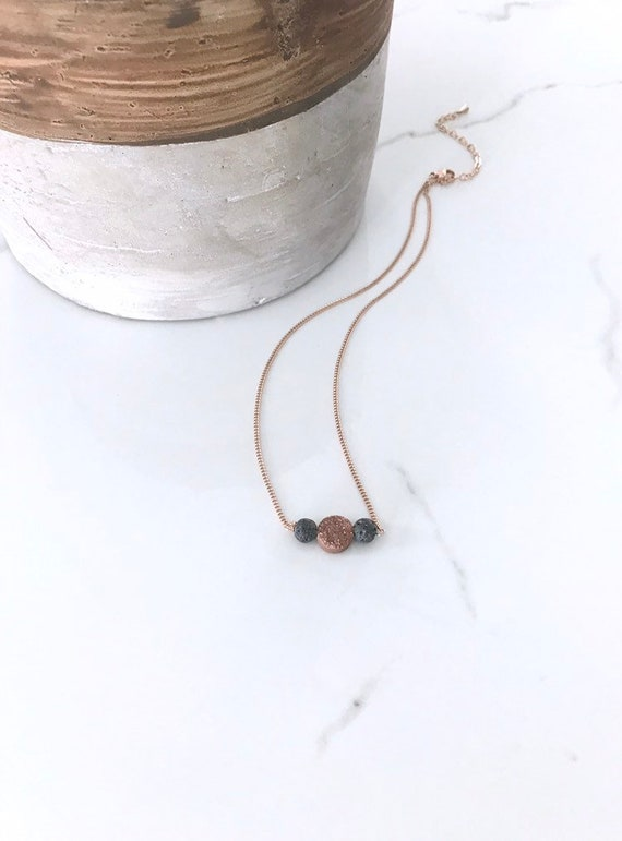 Rose Gold Champagne Druzy & Unwaxed Lava Stone Choker Necklace