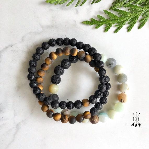 3 Piece Gemstone and Lava Diffuser Bracelet Set - Matte Amazonite, Matte Tigers Eye & Lava Stone - Beaded Mala Bracelet Stack