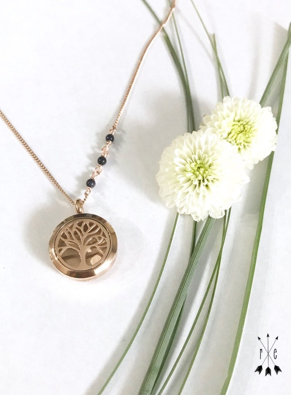 Blue Goldstone Aromatherapy Necklace in Rose Gold or Stainless Steel - Tree of Life Diffuser Locket