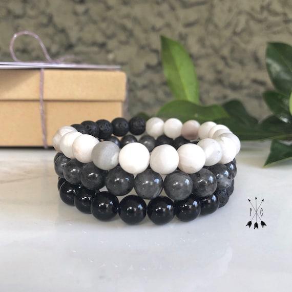 Gemstone Beaded Bracelet Stack - Lava Bracelet - Mala Bracelets - White Lace Agate, Blue Pearl, Black Onyx & Lava