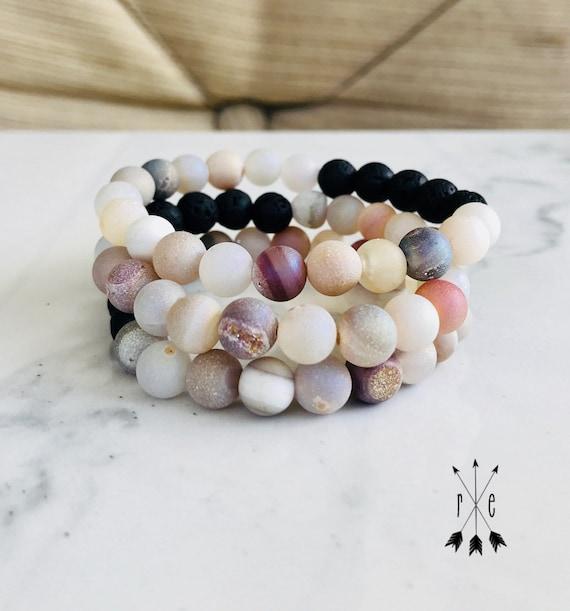 Aurora Luster Druzy and Lava Aromatherapy Bracelet - Lava Stone Diffuser Bracelets - Gemstone Beaded Stacking Bracelets