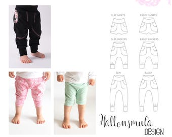 PDF- Baggypants/slim stl 50/56-98/104 i 3 olika längder - shorts, knickers och långa. Baggypants/knickers/shorts newborn - approx 4 years