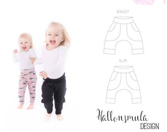 PDF- mönster Baggypants - 2 modeller: vanliga och slim stl 50/56 - 98/104 / Baggy pants patterns 2 models regular and slim 5 sizes