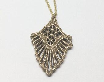 Golden Bronze Filigree Lace Necklace