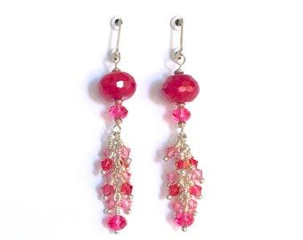 Crystal Dangle Drop Pink Earrings with Swarovski Crystals, Pink Semi-Precious Gemstones, Sterling Silver, & Lever Back Earwires.