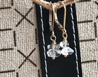 Herkimer Diamond Earrings, Gold Fill or Silver, Lever Back Earrings, Raw Crystal, Natural Herkimer Crystal, Quartz Crystal, Casual Diamonds