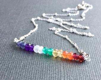 Chakra Gemstone Necklace, 7 Chakra Jewelry, Gemstone Bar Necklace, Rainbow Necklace, Sterling Silver, Satellite Chain, Beaded Gemstone Bar