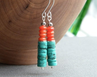 Turquoise and Coral Earrings, Stacked Turquoise, Southwest Earrings, Sundance Style Jewelry, Coral Earrings, Gift for Her, Green Turquoise