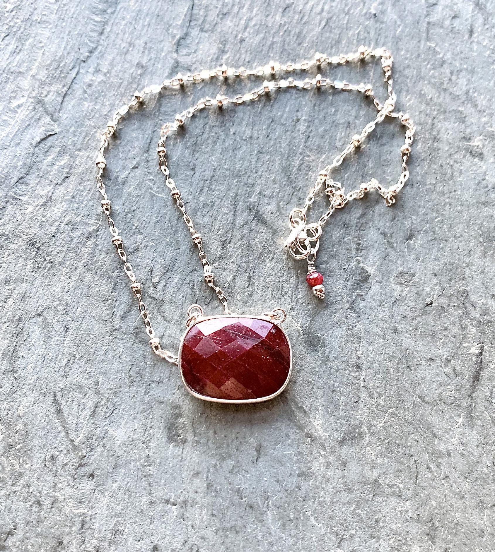 Dangle Earrings Mother Mary Jewelry Set Ruby Necklace Confirmation Jewelry Minimalist Beaded Jewelry Handmade Gift. Gemstone Jewelry