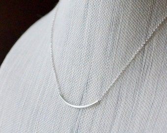 Sterling Silver Noodle Necklace, Minimal Silver Tube Simple Layering Necklace, Dainty Delicate Sliding Tube Hollow Curved Bar, Choose Length