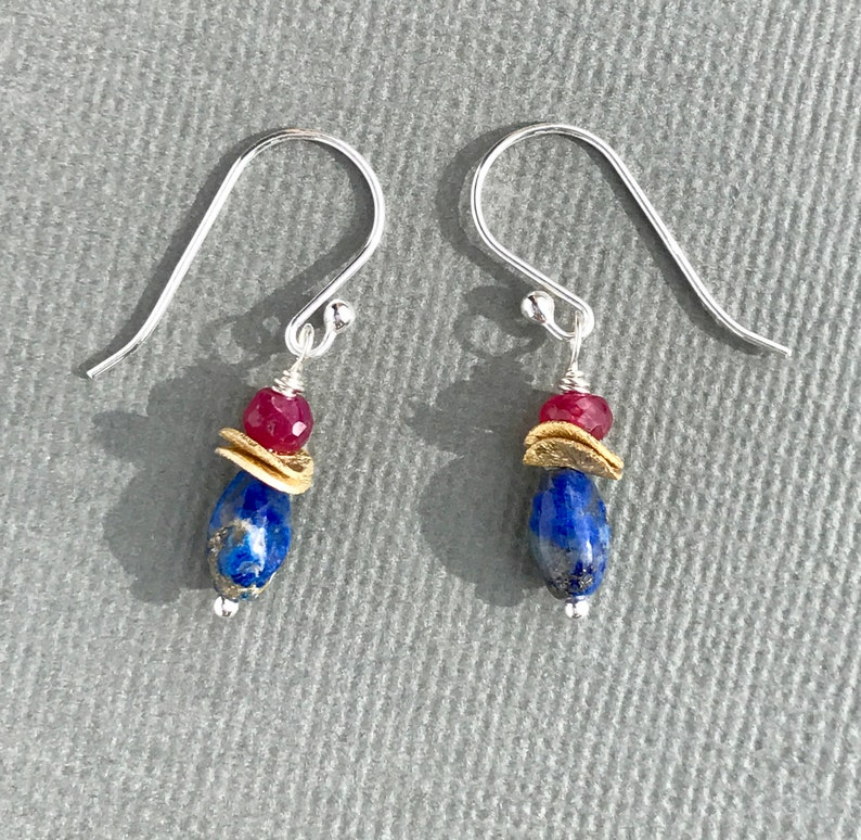 Tiny Gemstones Gemstone Earring Sterling Silver Ruby Jewelry Boho Earring Lapis Jewelry Mixed Metal Lapis Earring Ruby Earrings