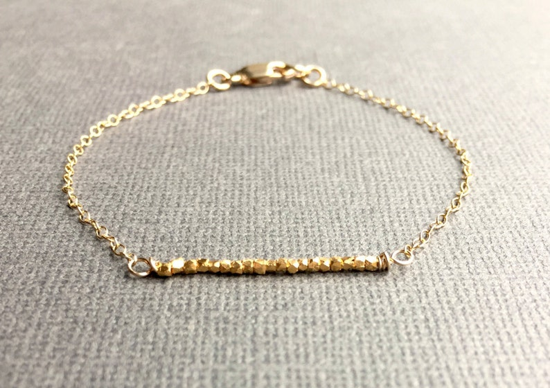 37774385eb3d Dainty Gold Bracelet with Bar of Gold Beads Delicate Cable