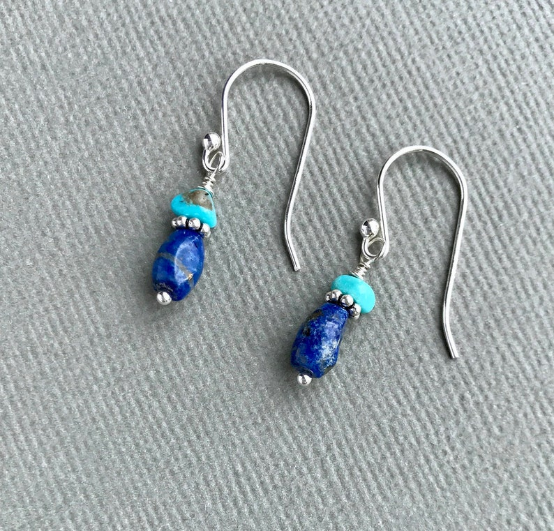 f8f68b1a9 Sleeping Beauty Turquoise Lapis Earrings Blue Gemstones | Etsy