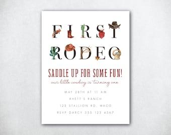 Cowboy Birthday Invitation, First Birthday Party, Cowboy Party, Birthday Party Invitation, Western Birthday Invite, Cowgirl Birthday Invite