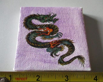 Purple Water Colour with Dragon Transfer