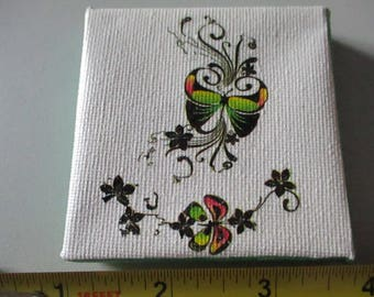 Butterflies and Flowers on White Canvas