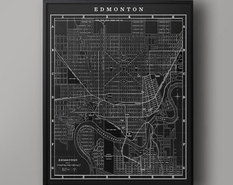 MAP of EDMONTON : Vintage Edmonton Alberta Canada - Edmonton City Map - Old Edmonton Map - Edmonton Wall Map - Edmonton Canada Map Art