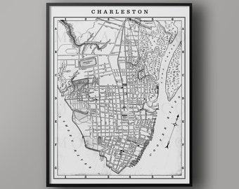 Charleston Old Map Etsy
