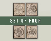 18TH CENTURY EUROPEAN DOCUMENT Seal Set of 4 Prints, Family Crests, Coat of Arms, Armorial Engravings, French Chic, Retro, Bohemian, English
