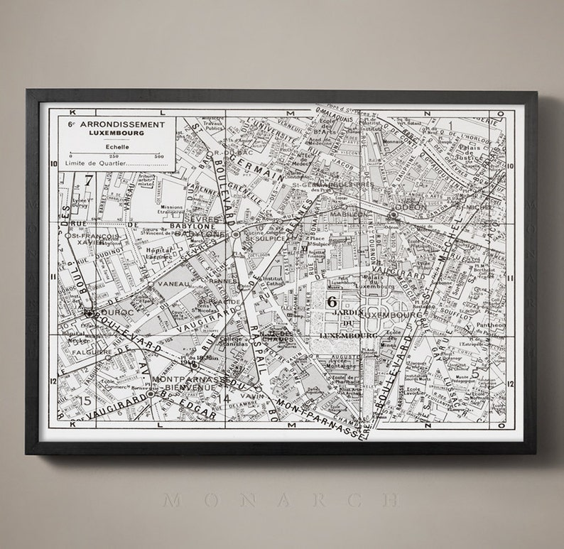 Map Of Paris France 6th Arrondissement.Paris Arrondissement Map 6th Arrondissement Luxembourg Map Paris Map Classic Paris Map Fine Art Paris French Chic City Of Light Art