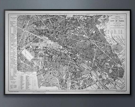 CIRCA 1883 LETTS MAP of Paris, Vintage Paris Map, Paris Map, Wall Map,  Vintage Map, Old Map, Rustic Map, French Decor, Shabby Chic, Big Map