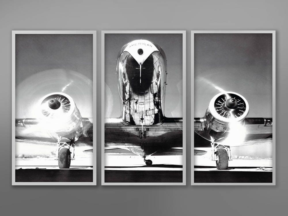 AIRPLANE TRIPTYCH Vintage Aircraft Vintage Airplane