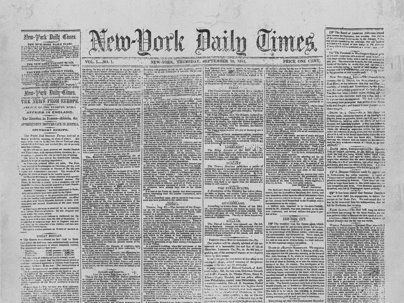 new york times newspaper first issue september 18 1851 ny