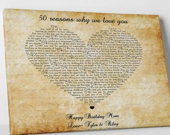 Reasons We Love You Mom Gift Personalized Mother 50th Birthday Gifts For Her 60th Custom From Kids