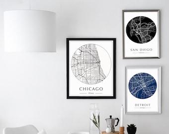 Custom Map Print, Custom City Map Print, Personalized Map, Custom Map Art, City Map Art, Custom Map Poster, Any City, Choose City Map Art