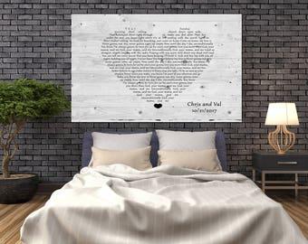 Valentines day gift for husband, wedding lyrics on wood sign, custom lyric wood, lyric word art, wedding canvas lyrics, lyrics canvas print