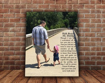 Walk with me daddy, Father's Day Gift from daughter, Father Son Poem, Father gift from kids, Custom Canvas Photo with Lyrics, Text, Quotes