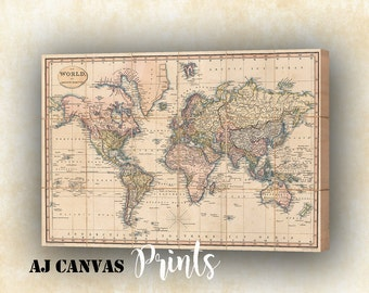 Antique world map etsy antique world map canvas vintage world map canvas printing wall art map print of the world detailed world map historical home decor 1 gumiabroncs Gallery