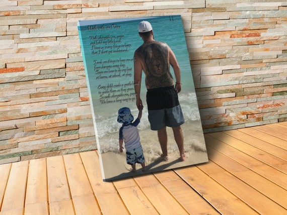 Personalized Father Picture Frame Walk With Me Daddy Poem Etsy