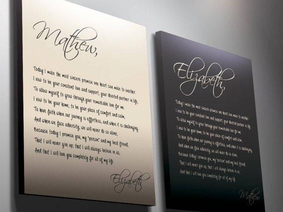 His And Hers Vows Wedding Vows Anniversary Gift Gift For Her Husband Gift Gift For Him Custom Calligraphy Her Vows Custom Canvas