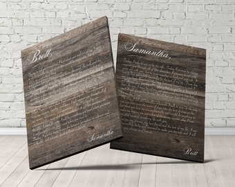 Personalized wedding vow keepsake, wedding vows wood, wedding vow wall art, wedding vows gift, wedding gift for couple, just married gift