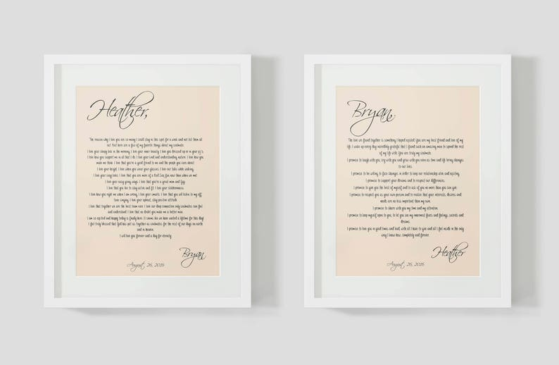 Paper Anniversary Gift 1 Year Wedding Anniversary Gift For Couple His And Hers Wedding Vow Art Print Personalized Gift For Husband