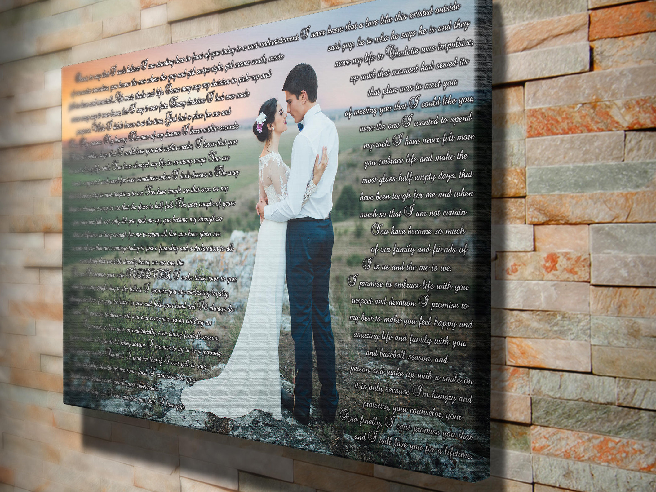 Personalized newlywed gift ideas, 1 year wedding anniversary gift, wedding  gift for couple, his and hers vows, wedding photo canvas