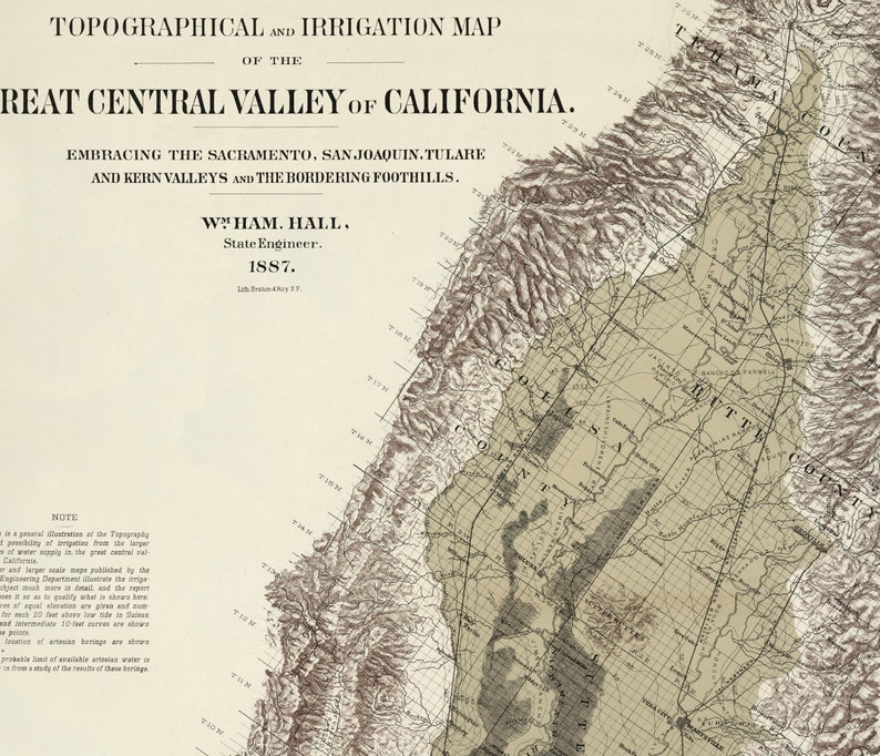 Map Of California Central Valley.Central Valley California Map Vintage California Map Of Central Valley California Fresno Map Modesto Map Sacramento Map Us Survey Map