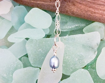 White Sea Glass Sterling Silver Necklace Baby Blue Pearl Pendant