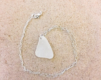 White Sea Glass Sterling Silver Necklace