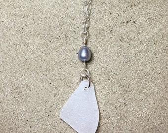 White Sea Glass Sterling Silver Necklace Wire Wrapped Pearl Pendant