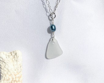 White Sea Glass Sterling Silver Blue Pearl Necklace Pendant