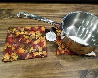 Fall Leaves Hot Pad, Leave Pot Trivet, Fall Pan Trivet, Thanksgiving Table Decor, Fall Table Decor, Thanksgiving Pot Holder, Fall Pan Holder