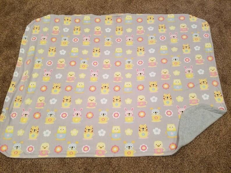 Grey Easter Blanket Bunny Sewn Fleece Blanket Girl Blanket image 0