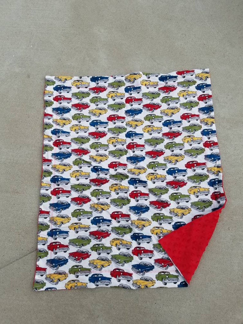 Red Classic Cars Receiving Blanket White Baby Blanket White image 0