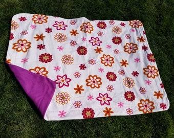 Pink Flowers Blanket, Pink Sewn Fleece Blanket, Girl Blanket, Double Sided Fleece Blanket, Pink Flowers Home Decor, Spring Fleece Blanket