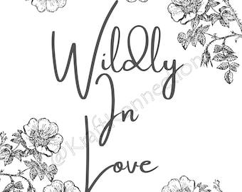 Wildly In Love Seed Packet Label Digital Download, Wedding Favor Seed Packet Labels, Wildly In Love Wedding Favor Seed Packets