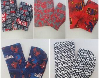 NerdNeeds Baby Burp Cloth and Small Receiving Blanket Combo Pack, Changing Pad Combo Pack, Nerd Baby Gift, Geek Baby, Spiderman, BMO, Batman