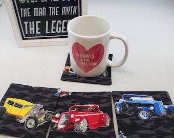 "Classic Car Fabric 4 Inch Coaster, Fabric Car Drink Coaster, 4"" Classic Car Drink Coaster, Classic Car and Flames Kitchen Decor, Car Kitchen"